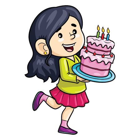 Illustration cartoon of cute girl bring birthday cake. 向量圖像