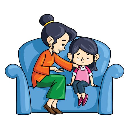 Illustration cartoon of cute mother advising her daughter.
