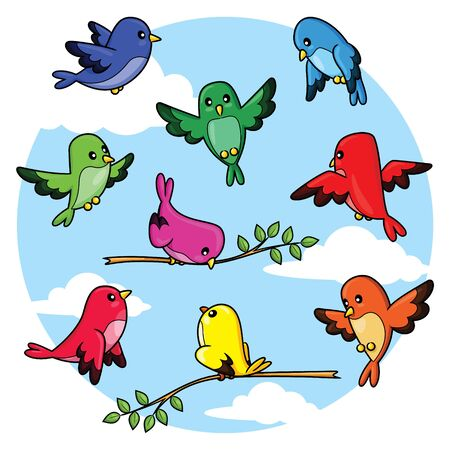 Illustration of cute cartoon birds pack.