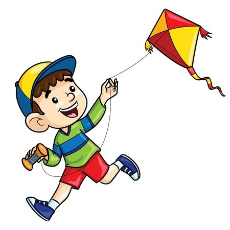 Illustration cartoon of cute boy playing kite.