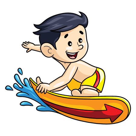 Illustration cartoon of cute surfer boy.