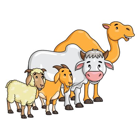 Camel, Cow, Goat, and Sheep Cartoon 向量圖像