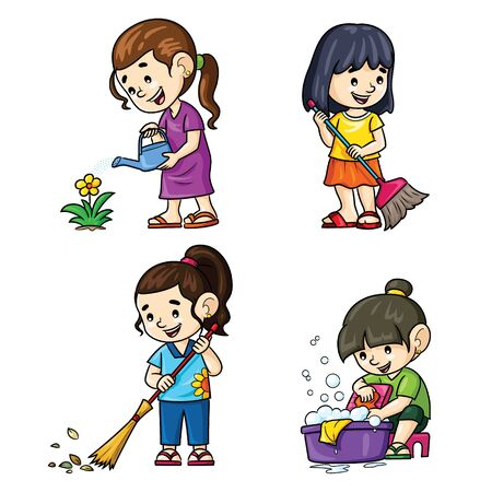 Cartoon activities of girls at home 向量圖像