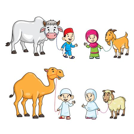 Muslim kids with camel, cow, goat, and sheep cartoon