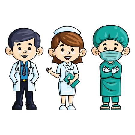 Profession cartoon. Doctor, nurse and surgeon