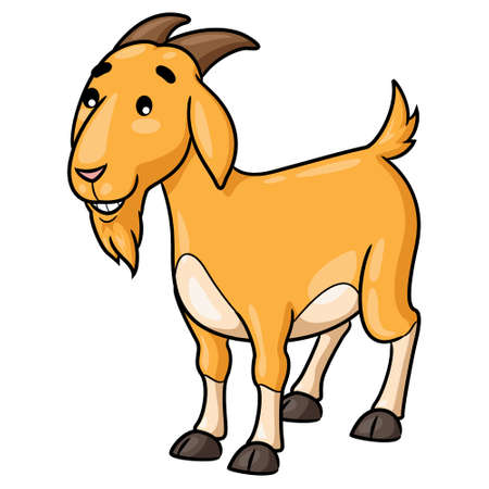 Illustration of cute cartoon goat smiling. 向量圖像