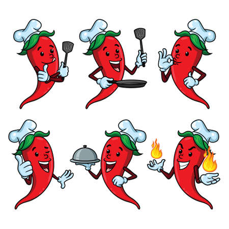 Illustrations of cute cartoon chili chef set.