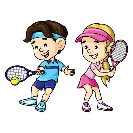 Illustration of cute cartoon tennis players.