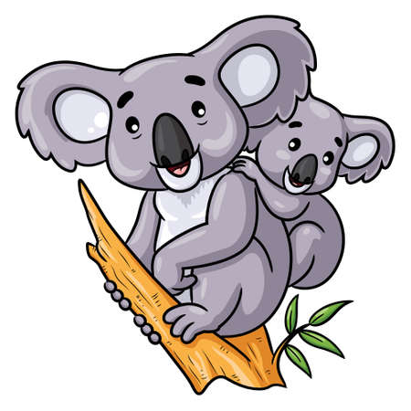 Illustration cartoon of cute koala and baby. 向量圖像