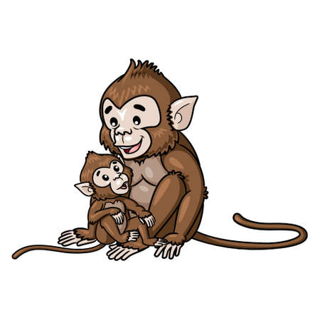 Illustration cartoon of cute monkey and baby.