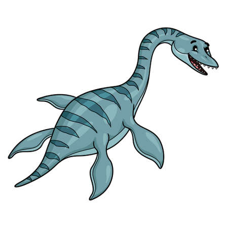 Illustration cartoon of cute plesiosaurus cartoon.