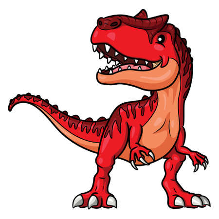 Illustration cartoon of cute allosaurus cartoon.