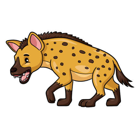 Illustration cartoon of cute hyena cartoon.