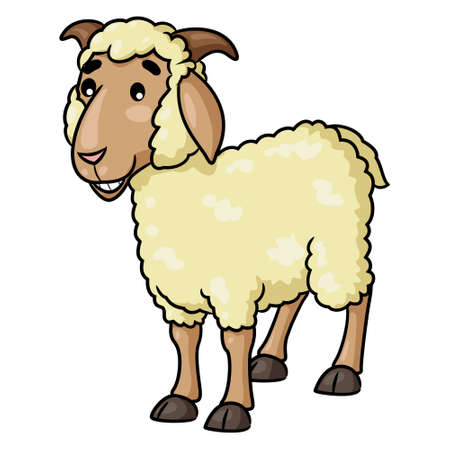 Illustration of cute cartoon sheep smiling.