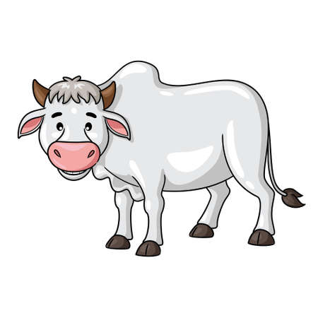 Illustration of cute cartoon cow smiling. 向量圖像