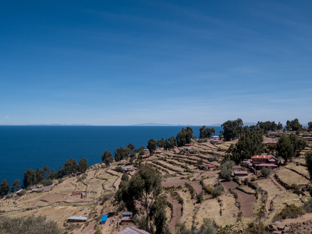 View of the mysterious Lake Titicaca from Taquile island, Puno Region, Peru Stock Photo