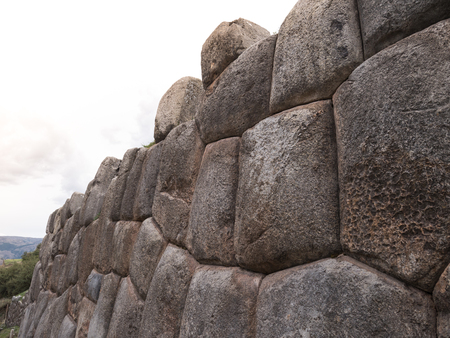 Detail of an ancient Inca wall in Sacsayhuaman, near Cusco, in Peru, South America Stock Photo