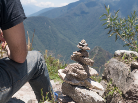 conection: zen and energy from the Earth stone piramid on Machu Picchu Mountain, Peru