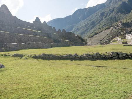 urubamba valley: Central Square at The inca city of Machu Picchu in Peru