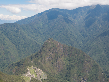 Machu Picchu view from Machu Picchu mountain, the ancient Inca city in the Andes, Cusco, Peru