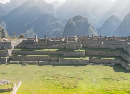 Central Square at The inca city of Machu Picchu in Peru