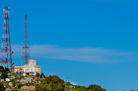 antennae: Telecommunication antenna with blue sky