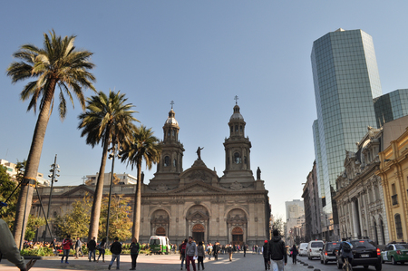 SANTIAGO DE CHILE, CHILE - NOVEMBER 23, 2015:  Metropolitan Cathedral, Plaza de Armas Main Square, Santiago de Chile Editorial