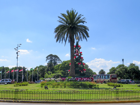 tigre: TIGRE, BUENOS AIRES, ARGENTINA - DECEMBER 8 2015:  Christmas tree is seen at the center of Tigre City in Tigre, Buenos Aires