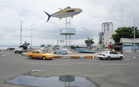 MANTA, ECUADOR - MARCH 18, 2015: Tuna monument in the port of Manta. The city of Manta is the World Capital of Tuna Editorial