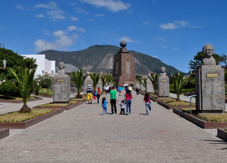 QUITO, ECUADOR - March 17, 2016:  People visit the Middle of the world Monument in Quito, Ecuador