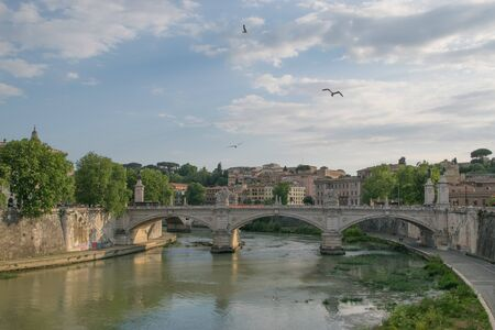 tiber: Tiver River, view from Ponte Principe Amadeo Savoia Aosta in Rome, Italy