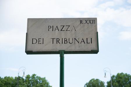 indication: Piazza Dei Tribunali, Roman Street Sign in Rome, Italy