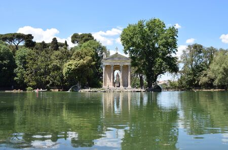 Temple of Asclepius (Tempio di Esculapio) at Villa Borghese Park. Villa Borghese (18 century) - largest Public Park in Rome Stock Photo