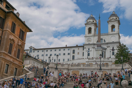 owes: ROME, ITALY - JUNE 02, 2017: General view of Piazza di Spagna, one of the most famous squares of Rome. It owes its name to the palace of Spain, Embassy of the Iberian is here Editorial