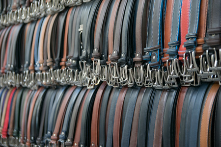Leather Pants Belts in Various Colors in a Store