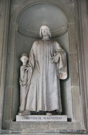 Lorenzo Medici statue at Uffizi galery in Florence, Italy