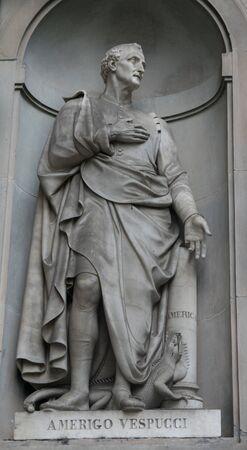 Americo Vespucci statue at Uffizi galery in Florence, Italy