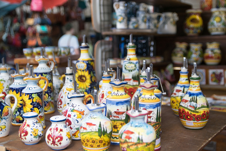 Pottery at San Lorenzo market of Florence, Italy