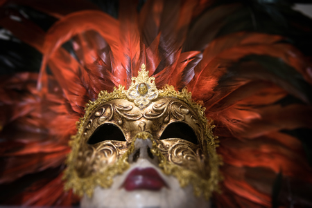 Venecian mask, gold and red, carnival, venice