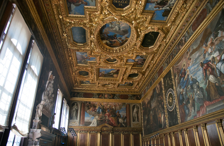 VENICE, ITALY - JUNE 05, 2017: Sala del Collegio or College Hall of Palazzo Ducale (Doges Palace) in Venice, Italy Editorial