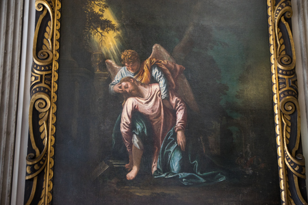 VENICE, ITALY - JUNE 05, 2017: Painting L`state by Tintoretto at Palazzo Ducale (Doges Palace) in Venice, Italy