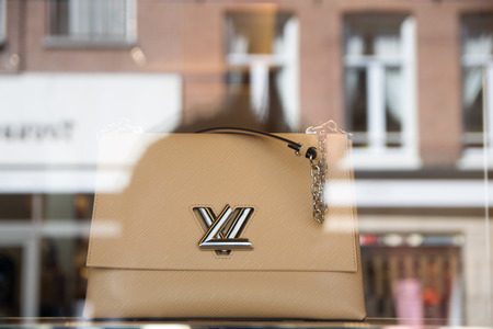 NETHERLANDS, AMSTERDAM - JUNE 03, 2017: View of a Louis Vuitton leather handbag as part of Masters Collection in collaboration with Jeff Koons on display