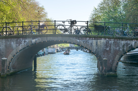 Bridge over canal in Amsterdam Stock Photo