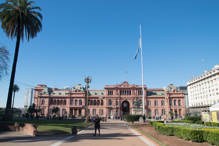 BUENOS AIRES, ARGENTINE - JULY 18, 2017:  Casa Rosada (pink house) Buenos Aires Argentina.La Casa Rosada is the official seat of the executive branch of the government of Argentina Editorial