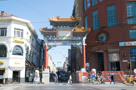 ANTWERP, BELGIUM - MAY 26, 2017: Entry in Chinatown in Antwerp. The gate is a gift of Chinese government to city Antwerp as a sign of friendship