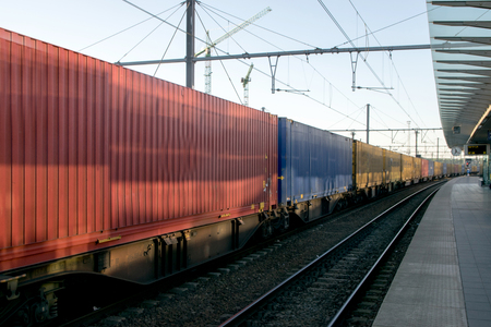 flatcar: Freight train with cargo containers