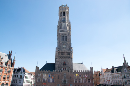 The belfry of Bruges is a medieval bell tower in the historical centre of Bruges, Belgium Stock Photo