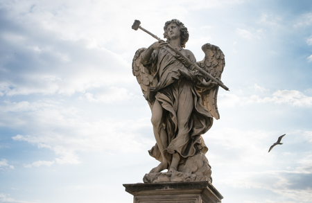 Berninis marble statue of angel from the SantAngelo Bridge in Rome, Italy