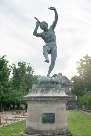 The Faune Dansant (Dancing Faun) statue by sculptor Eugene-Louis Lequesne in Pariss Jardin du Luxembourg