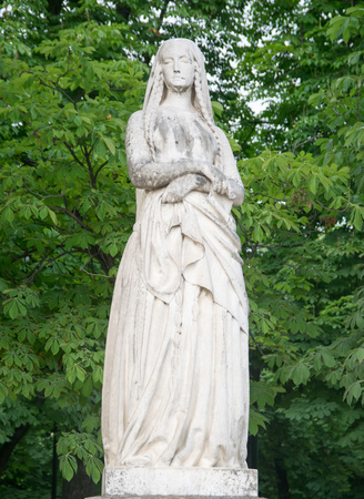 Statue of St Genevieve, the patron of Paris, in the Luxembourg garden of Paris, France